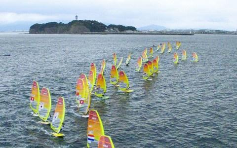 Competitors in the men's RS:X class windsurfing event as part of the sailing World Cup series - Credit: AFP