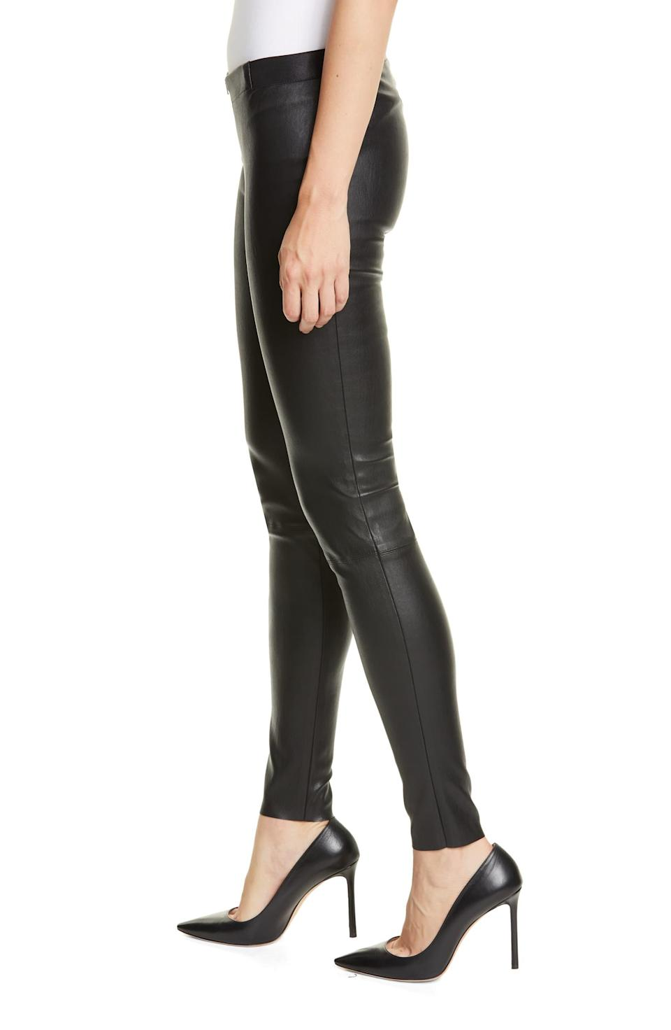 """<h3>Alice + Olivia: The Leather Leggings<br></h3><br>Legit leather leggings do not come cheap, but those who are devoted to the style and willing to fork over the cash seem like very happy campers to us. <br><br><strong>The hype:</strong> 4.3 out of 5 stars, 27 reviews on Nordstrom.com<br><br><strong>What they're saying:</strong> """"These are beautiful leather leggings — not too 'tough/motorcycle' and not too <em>Catwoman</em>. I receive lots of compliments every time I wear them. The leather is super soft. They are pretty stretchy, so if you're in between sizes, order a size down. I'm 5' 8"""" and generally wear a 4, and the 2 in these work very well. Great price for leather leggings as well."""" — akings, Nordstrom.com reviewer<br><br><strong>Alice + Olivia</strong> Leather Leggings, $, available at <a href=""""https://go.skimresources.com/?id=30283X879131&url=https%3A%2F%2Fshop.nordstrom.com%2Fs%2Falice-olivia-leather-leggings%2F3337019%2Ffull"""" rel=""""nofollow noopener"""" target=""""_blank"""" data-ylk=""""slk:Nordstrom"""" class=""""link rapid-noclick-resp"""">Nordstrom</a>"""