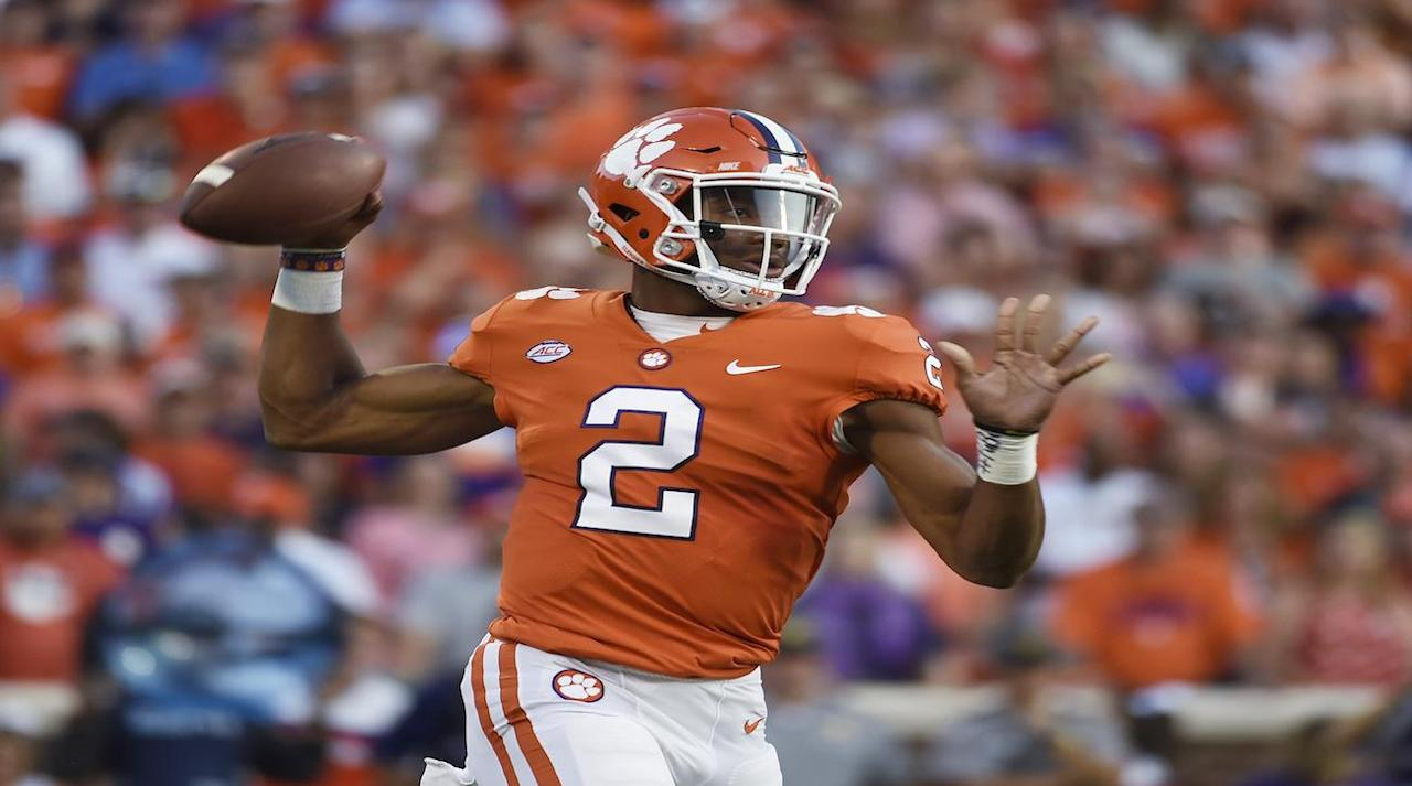 "<p>The teams that played for the national championship in each of the last two seasons are the top teams in this week's Associated Press <a rel=""nofollow"" href=""https://ec.yimg.com/ec?url=http%3a%2f%2fcollegefootball.ap.org%2fpoll%26quot%3b%26gt%3bTop&t=1506043730&sig=_kD_Gc5rtrhV37la0XPWCA--~D 25 poll</a>.</p><p>Alabama remains No. 1, with Clemson jumping up one spot to No. 2 over Oklahoma after an impressive 47–21 victory over Heisman winner Lamar Jackson and Louisville.</p><p>Oklahoma is No. 3, followed by Penn State and USC, who needed double overtime to beat Texas. Mississippi State joins the Top 25 at No.17 after dominating LSU 37–7.</p><p>Here is the rest of the AP Top 25:</p><p>1. Alabama<br />2. Clemson<br />3. Oklahoma<br />4. Penn State<br />5. USC<br />6. Oklahoma State<br />7. Washington<br />8. Michigan<br />9. Wisconsin<br />10. Ohio State<br />11. Georgia<br />12. Florida State<br />13. Virginia Tech<br />14. Miami (FL)<br />15. Auburn<br />16. TCU<br />17. Mississippi State<br />18. Washington State<br />19. Louisville <br />20. Florida<br />21. South Florida<br />22. San Diego State<br />23. Utah<br />24. Oregon<br />25. LSU</p>"