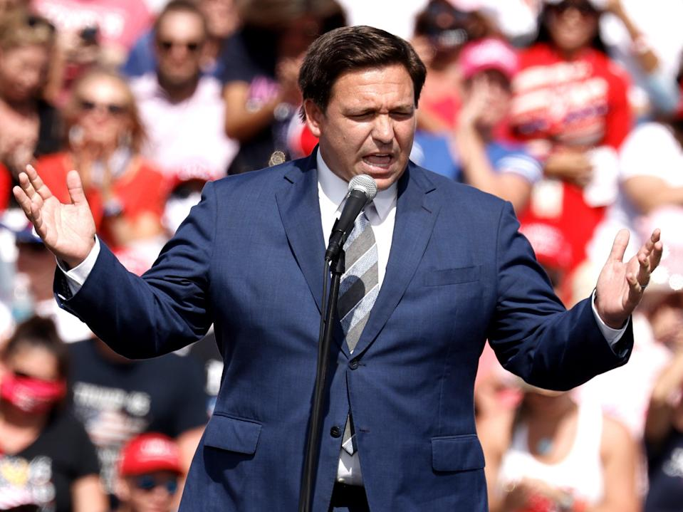 Florida governor Ron DeSantis speaks at the Donald Trump's make America great victory rally at Raymond James Stadium in Tampa, Florida, on 29 October 2020 ((EPA))