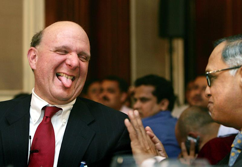 FILE -In this Nov. 8, 2006, file photo, Microsoft Corp. Chief Executive Officer Steve Ballmer, left, reacts as he talks to co-founder of Technologies NR Narayana Murthy, right, in New Delhi, India. Ballmer can't afford to be wrong about Windows 8. If the dramatic overhaul of the Windows operating system flops, it will reinforce perceptions that Microsoft is falling behind other technology giants as the world moves on to smartphones, tablets and other sleek devices from Apple, Google and Amazon. (AP Photo/Gurinder Osan File)