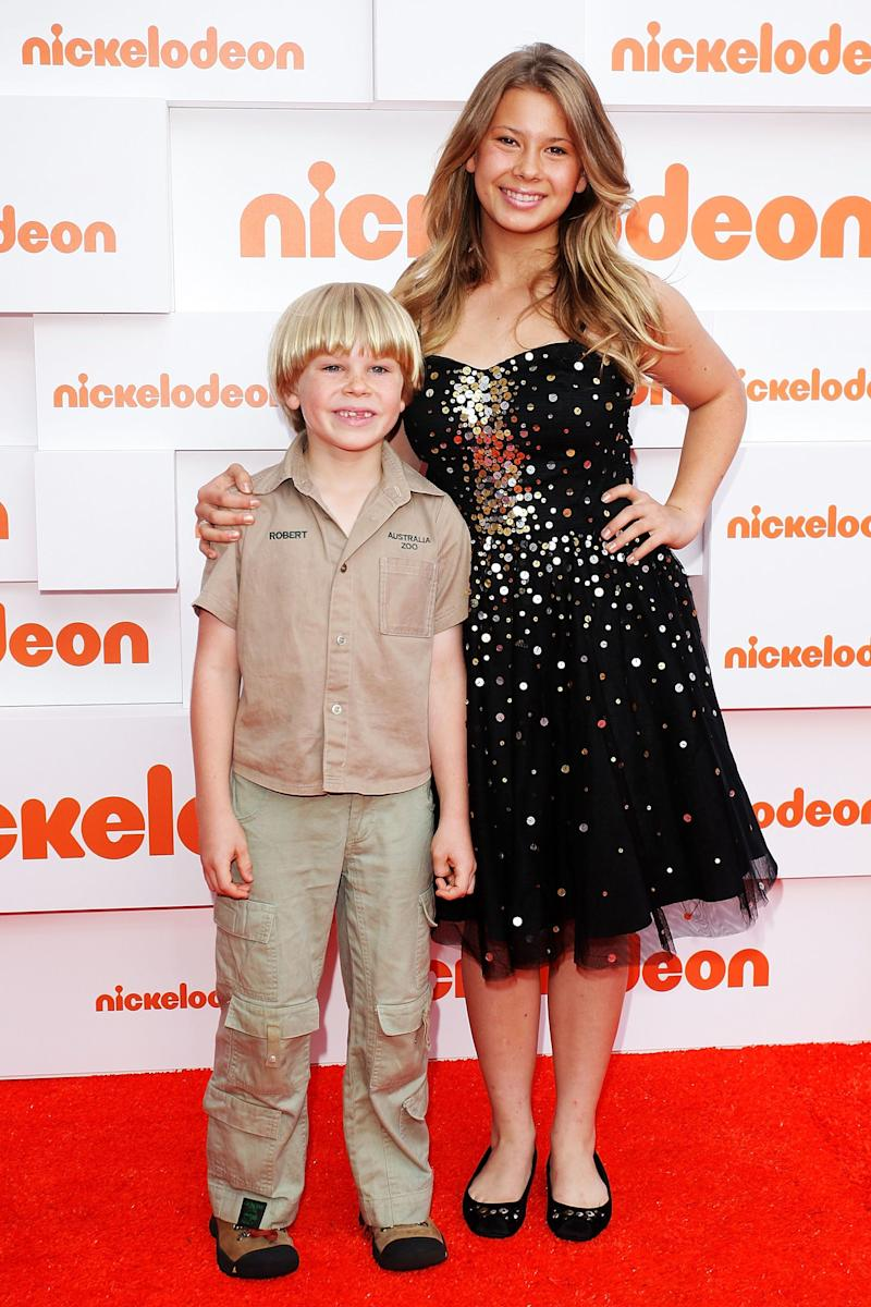 Robert Irwin and Bindi Irwin arrive at the 2011 Nickelodeon Kid's Choice Awards at the Sydney Entertainment Centre on October 7, 2011 in Sydney, Australia. (Photo by Lisa Maree Williams/Getty Images)