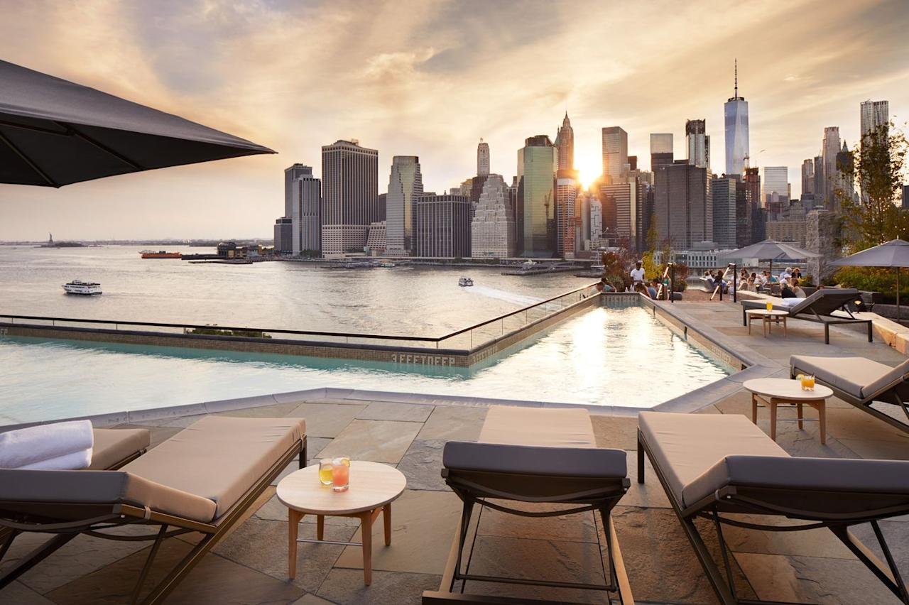 """<p>If you're looking to clock up the laps, you might want to skip the pool at the <a href=""""https://www.1hotels.com/brooklyn-bridge"""">1 Hotel Brooklyn Bridge</a>—because this oasis is all about relaxation. Find calm in the middle of the bustling city on this rooftop, complete with handcrafted cocktails, market-driven canapés, and cityscape views. The vibe here is off-beat yet incredibly thoughtful, think brickwork mixed with natural wood, glass, and greenery. Keep in mind that it's strictly reserved for guests, but springing for a room is worth it to bounce up to this beautiful limestone deck for a toast, tan, and a dip.</p>"""