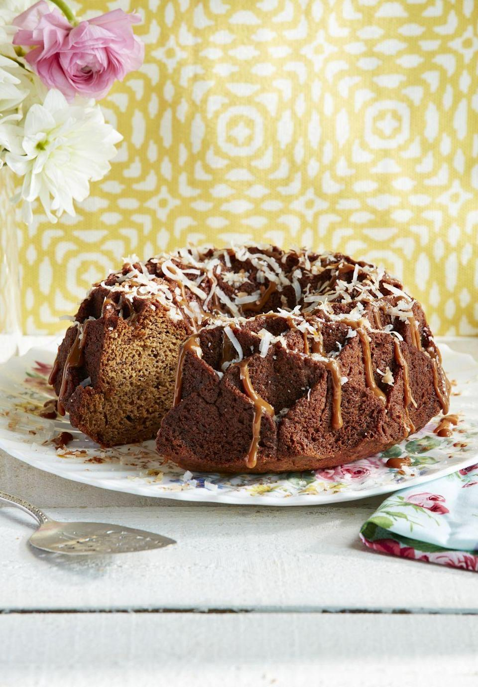 """<p>Another great reason to keep a bundt pan in your cupboard, this take on banana cakes is incredibly rich.</p><p><strong><a href=""""https://www.countryliving.com/food-drinks/a27244683/banana-butterscotch-cake-recipe/"""" rel=""""nofollow noopener"""" target=""""_blank"""" data-ylk=""""slk:Get the recipe"""" class=""""link rapid-noclick-resp"""">Get the recipe</a>.</strong></p><p><strong><a class=""""link rapid-noclick-resp"""" href=""""https://www.amazon.com/Wilton-2105-6803-Nonstick-Perfect-Non-Stick/dp/B004EBK7TK/?tag=syn-yahoo-20&ascsubtag=%5Bartid%7C10050.g.32944821%5Bsrc%7Cyahoo-us"""" rel=""""nofollow noopener"""" target=""""_blank"""" data-ylk=""""slk:SHOP BUNDT PANS"""">SHOP BUNDT PANS</a><br></strong></p>"""