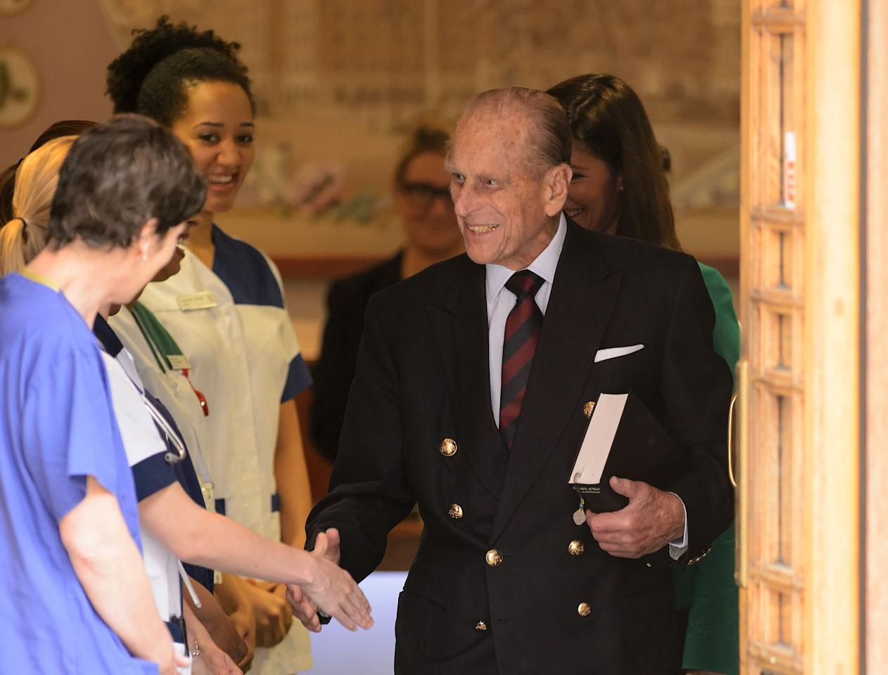 The Duke of Edinburgh thanks staff as he leaves the London Clinic in central London, 11 days after he was admitted for exploratory abdominal surgery.