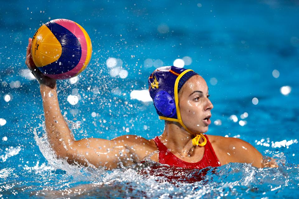 BUDAPEST, HUNGARY - JULY 28:  Beatriz Ortiz Munoz #4 of Spain in action during the Women's Water Polo gold medal match between the United States and Spain on day fifteen of the Budapest 2017 FINA World Championships on July 28, 2017 in Budapest, Hungary.  (Photo by Adam Pretty/Getty Images)