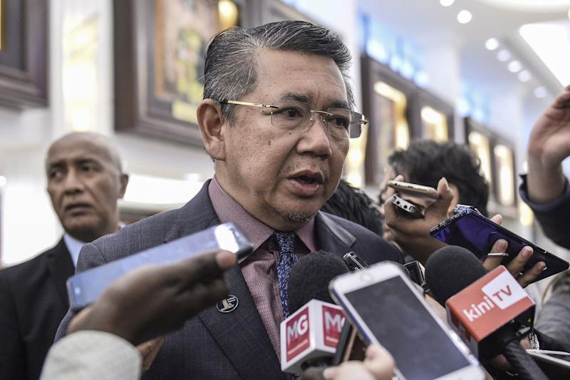 Agriculture and Agro-Based Industry Minister Datuk Salahuddin Ayub speaks to reporters at Parliament November 5, 2019. — Picture by Miera Zulyana