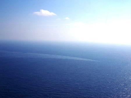 The oil spill from a stricken Iranian tanker Sanchi that sank on Sunday is seen in the East China Sea, on January 17, 2018 in this photo provided by Japan's 10th Regional Coast Guard. 10th Regional Coast Guard Headquarters/Handout via REUTERS
