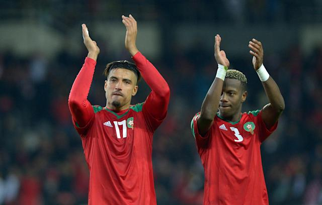 Soccer Football - International Friendly - Serbia vs Morocco - Stadio Olimpico Grande Torino, Turin, Italy - March 23, 2018 Morocco's Nabil Dirar and Hamza Mendyl applaud the fans at the end of the match REUTERS/Massimo Pinca