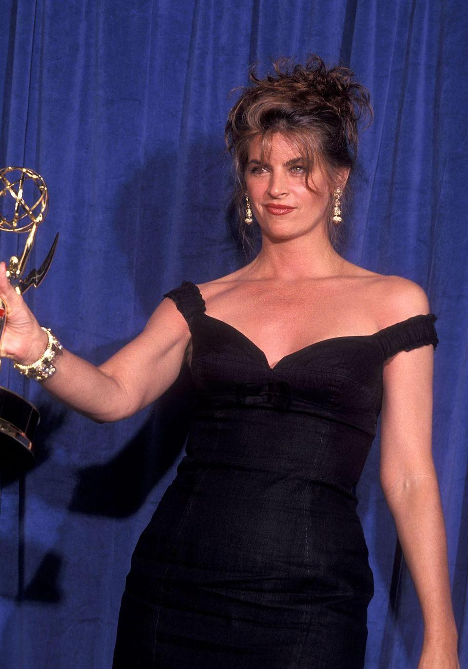 """<p>While jokes about sex might be par for the course nowadays, it wasn't that way back in 1991. So when Kirstie Alley made a sex joke on stage during her acceptance speech after winning Best Lead Actress in a Comedy Series, it was a big deal. She thanked her then-husband Parker Stevenson as """"the man who has given me the big one for the last eight years."""" It was even more awkward because Macaulay Culkin was the presenter—and he was a kid at the time. </p>"""