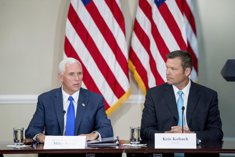 <p> FILE - In this Wednesday, July 19, 2017 file photo, Vice President Mike Pence, left, accompanied by Vice-Chair Kansas Secretary of State Kris Kobach, right, speaks during the first meeting of the Presidential Advisory Commission on Election Integrity at the Eisenhower Executive Office Building on the White House complex in Washington. The information coming out of President Donald Trump's commission to investigate voter fraud has frustrated not only reporters and senators but now even members of the commission. (AP Photo/Andrew Harnik, File) </p>