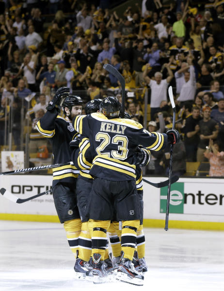 Boston Bruins center Chris Kelly (23) and celebrates a goal by Boston Bruins left wing Daniel Paille, hidden, during the second period in Game 3 of the NHL hockey Stanley Cup Finals against the Chicago Blackhawks in Boston, Monday, June 17, 2013. (AP Photo/Elise Amendola)