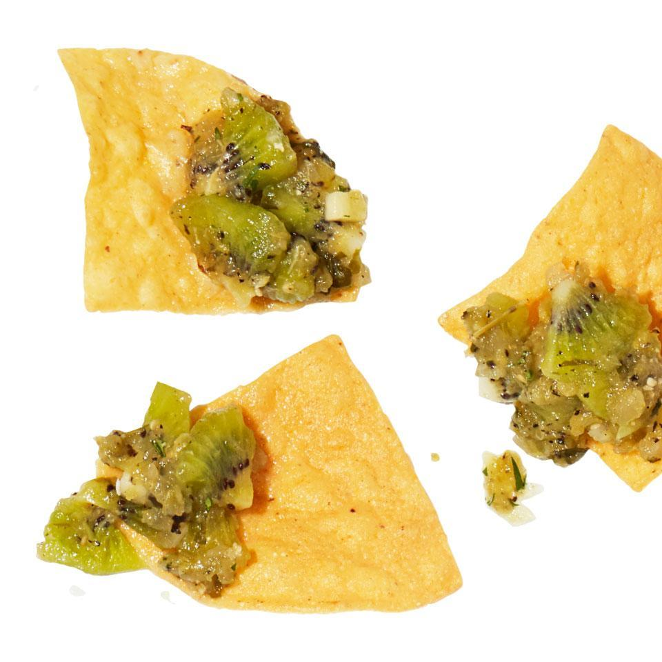 <p>Fresh fruit adds sweet, tangy flavor to store-bought salsa, spicing up this easy and quick healthy snack.</p>