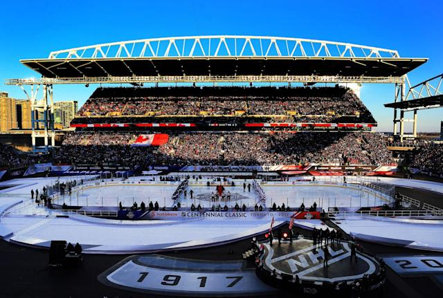 <p>The big picture: NHL Centennial Classic at BMO Field in Toronto. (Getty) </p>