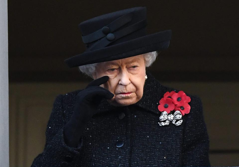 The Queen attending the National Service of Remembrance at the Cenotaph, Whitehall, London. (Doug Peters/EMPICS)