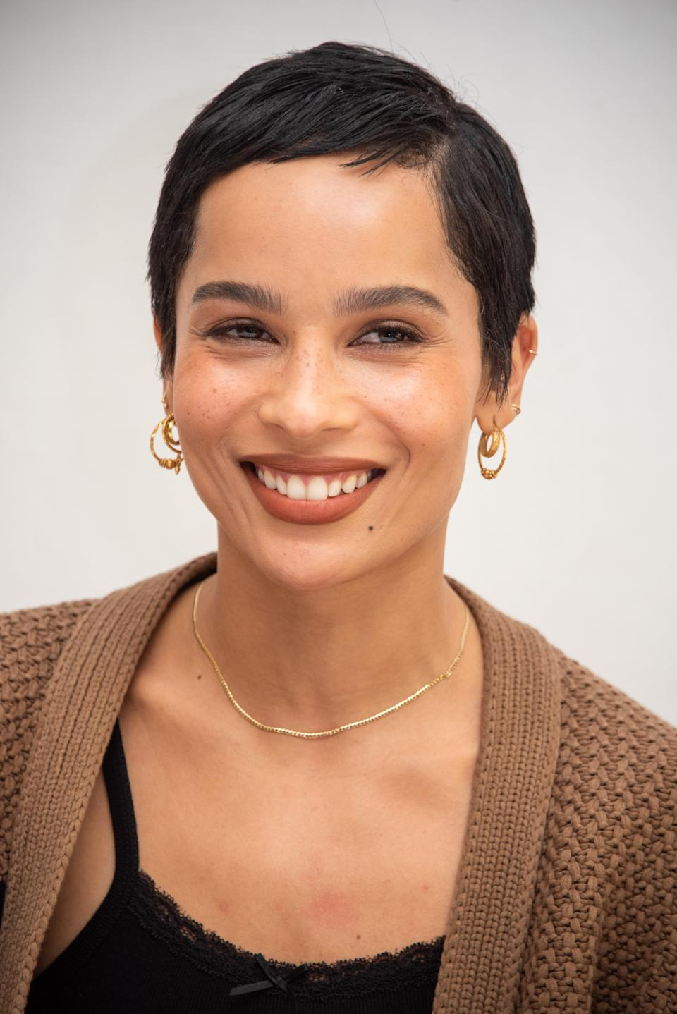 Zoë Kravitz's cropped pixie looks classic and cool at the same time thanks to the hint of bangs.