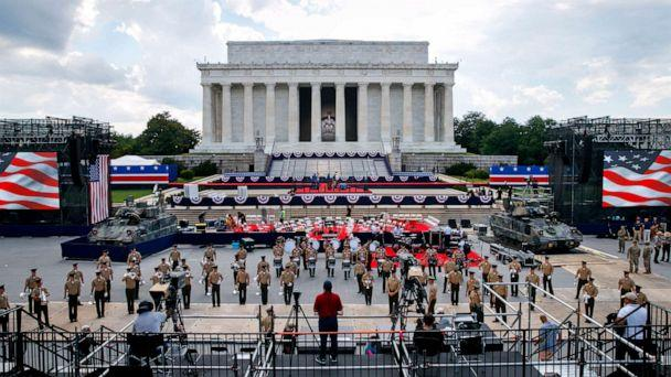 PHOTO: Two Bradley Fighting Vehicles flank the stage being prepared in front of the Lincoln Memorial, July 3, 2019, in Washington D.C., ahead of planned Fourth of July festivities with President Donald Trump. (Jacquelyn Martin/AP)
