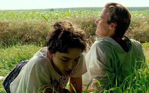 Timothée Chalamet and Armie Hammer as Elio and Oliver