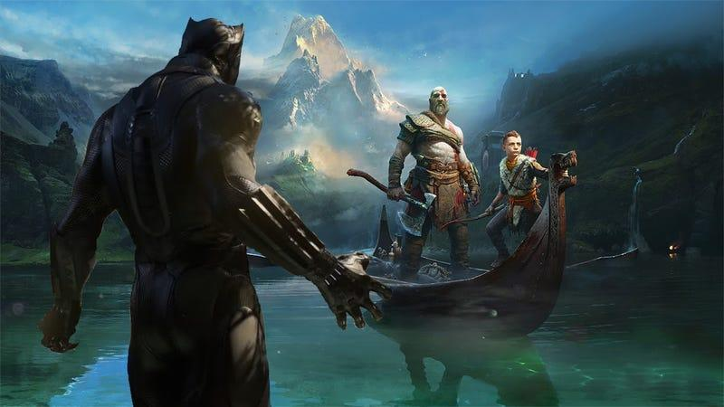 Marvel's Black Panther looms over Kratos and Son from God of War.