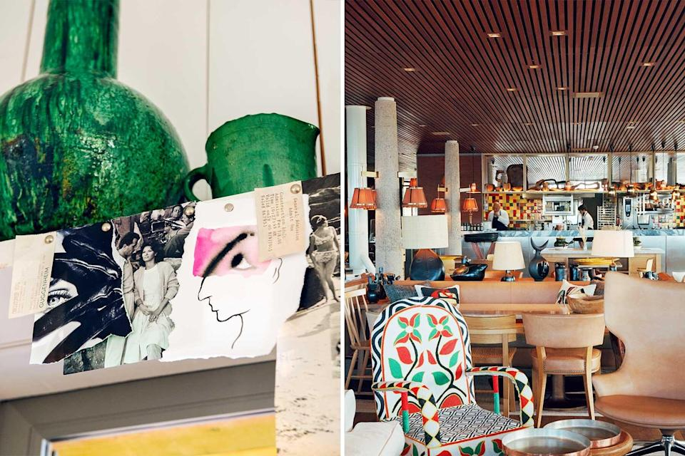 Colorful Interior detail and restaurant scene at a hotel in St Tropez
