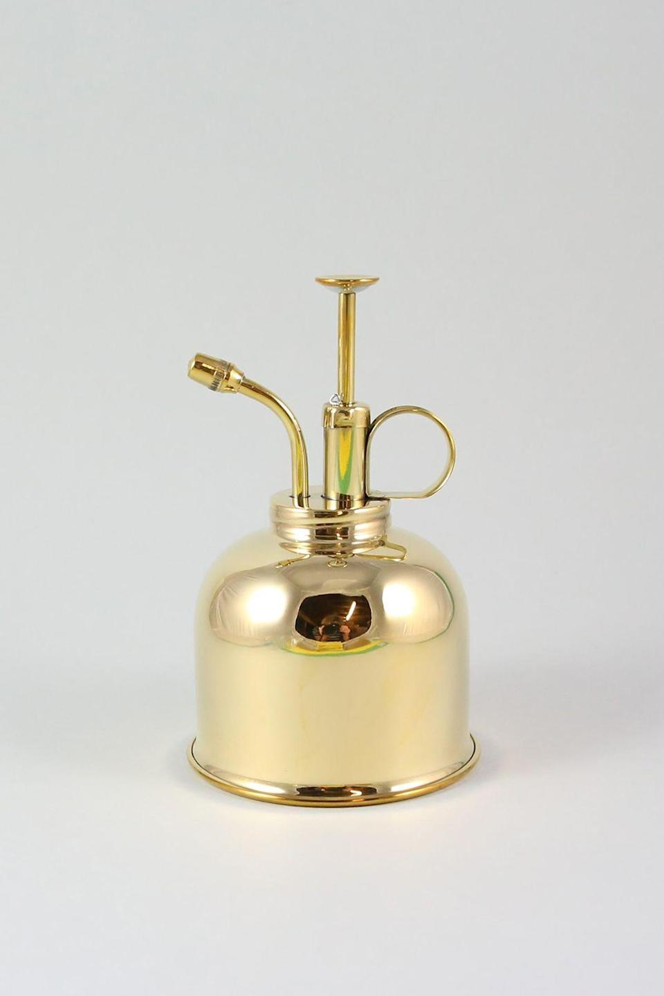 """<p><strong>Brass act</strong></p><p>Even garden apparatus has gone brassy (in the best possible way); dispense with the watering can and give your plants a spritz with this metallic plant mister instead. Yes, we know you could just keep watering your plants with the dregs of your coffee, but when gardening tools look this good on your mantelpiece, who can resist?</p><p>£14.95, <a href=""""https://www.trouva.com/boutique/nook-in-n160uh/brass-plant-mister"""" rel=""""nofollow noopener"""" target=""""_blank"""" data-ylk=""""slk:Nook at trouva.com"""" class=""""link rapid-noclick-resp"""">Nook at trouva.com</a></p>"""