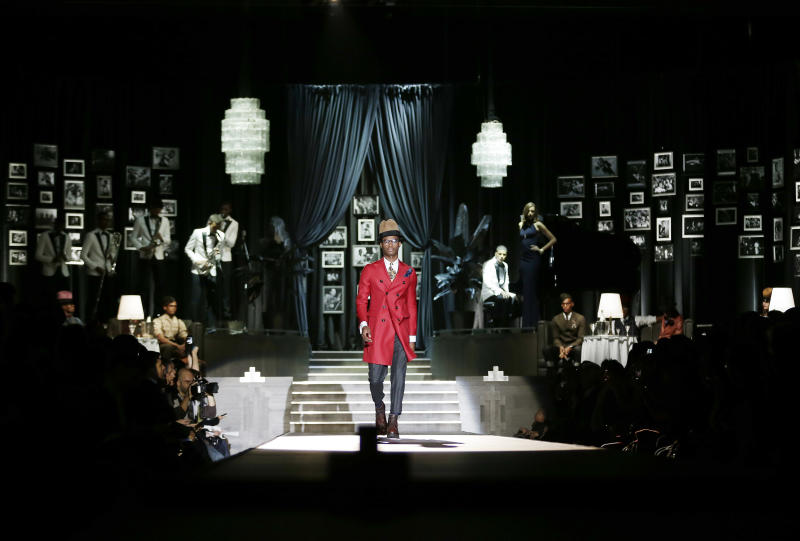 A model wears a creation for DSquared2 men's Fall-Winter 2013-14 collection, part of the Milan Fashion Week, unveiled in Milan, Italy, Tuesday, Jan. 15, 2013. (AP Photo/Antonio Calanni)