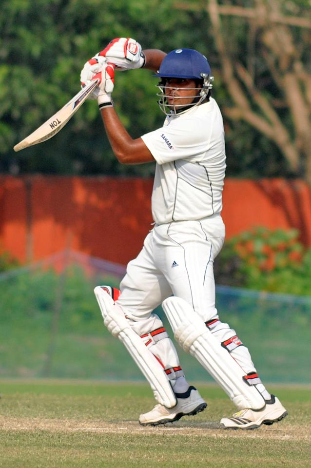 UPCA player M B Dager in action during Day 2 of practice match between West Indies and Uttar Pradesh Cricket Association XI at the Jadavpur University Ground in Kolkata on Nov.1, 2013. (Photo: IANS)