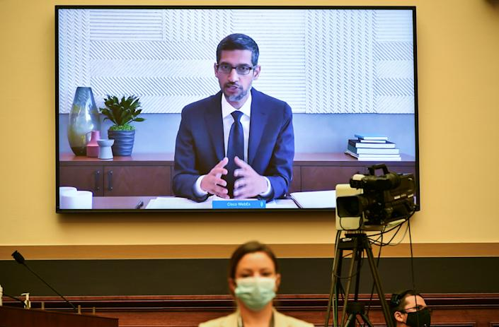 Google CEO Sundar Pichai testifies before the House Judiciary Subcommittee on Antitrust, Commercial and Administrative Law during a hearing on