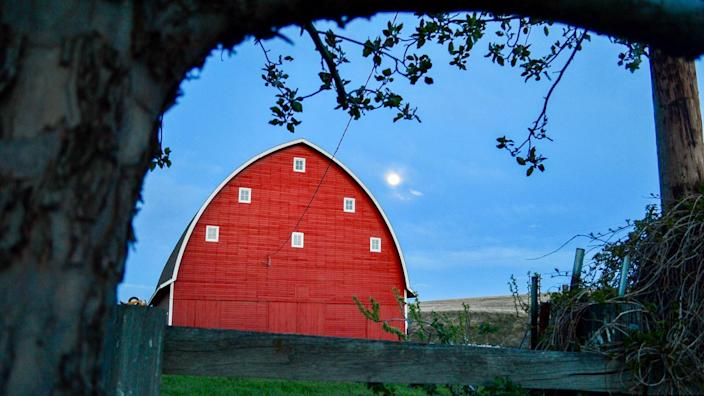 The barn on my family ranch in Pendleton, Oregon at dusk.