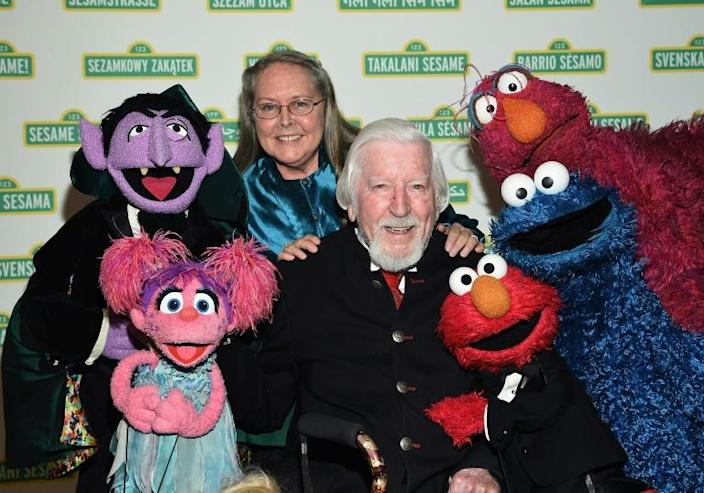 "Caroll Spinney -- seen here at the 2017 Sesame Workshop Dinner in New York with several other ""Sesame Street"" characters -- portrayed Big Bird and Oscar the Grouch for nearly 50 years (AFP Photo/Dimitrios Kambouris)"