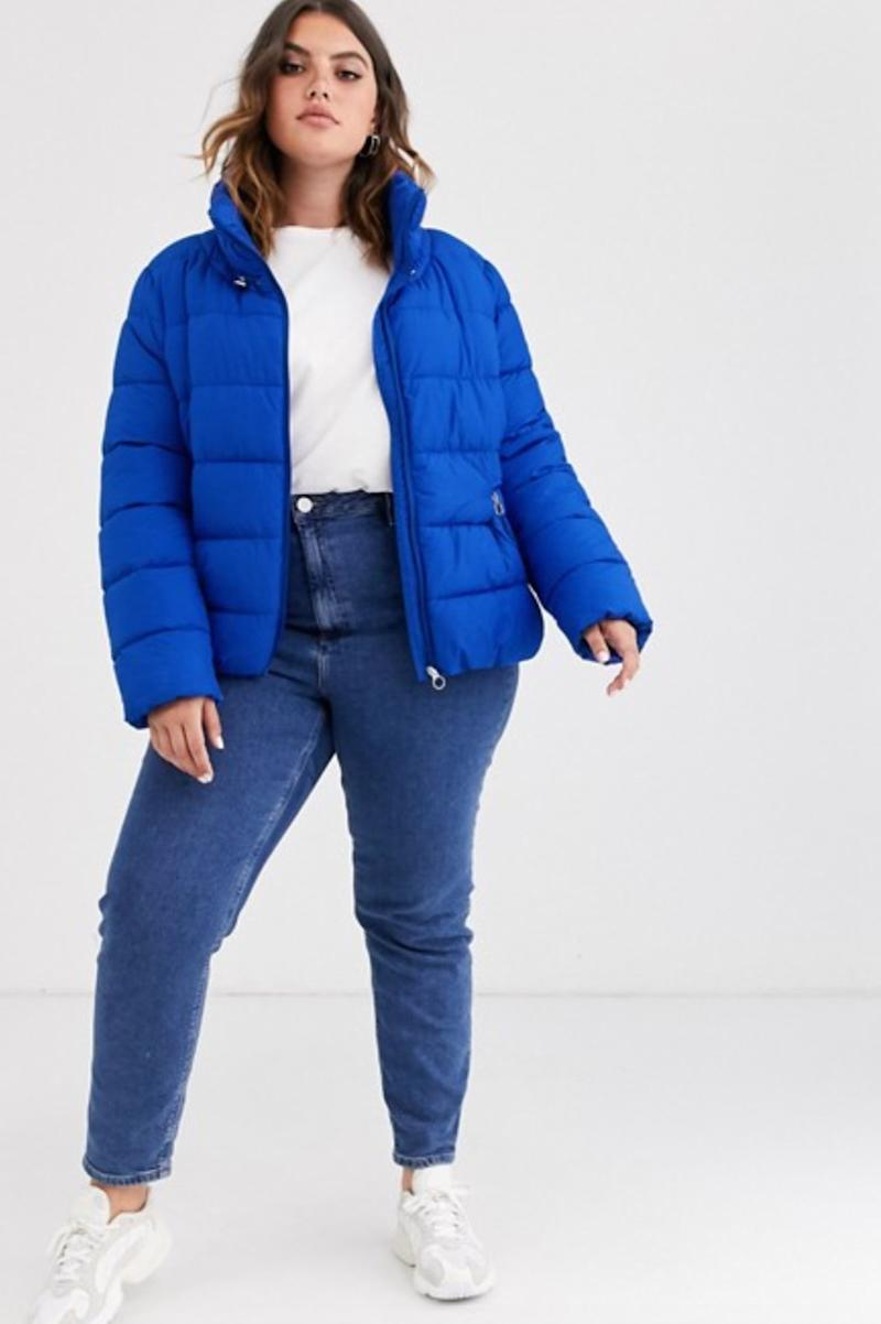 Only Curve padded color pop padded jacket (photo via ASOS)