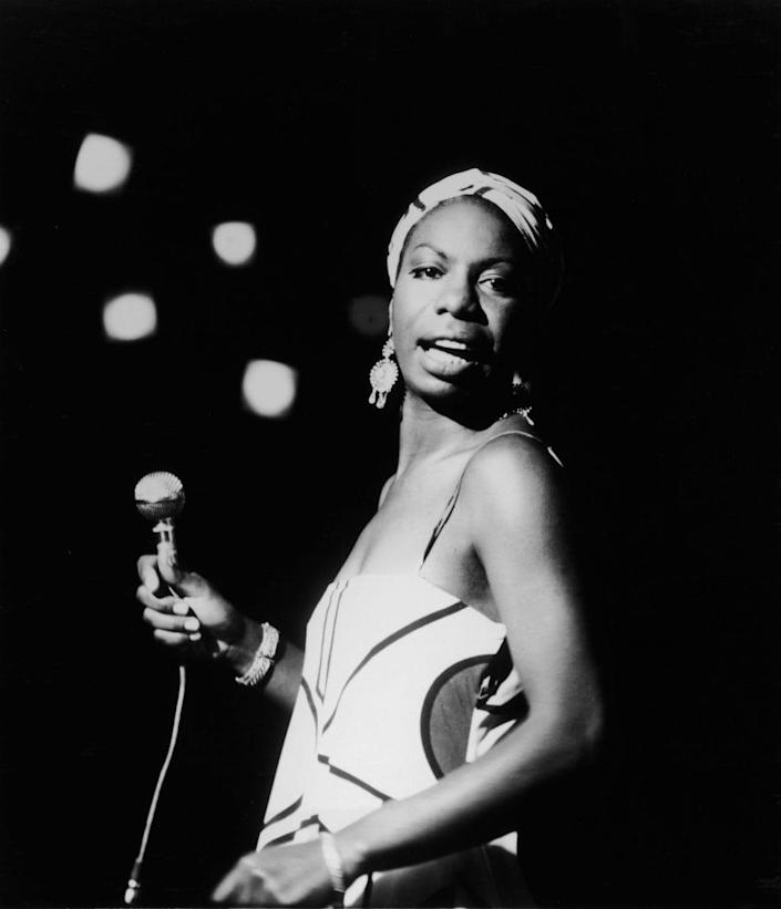 American pianist and jazz singer Nina Simone performs October 18, 1964 in an unidentifed location. (Photo by Getty Images)
