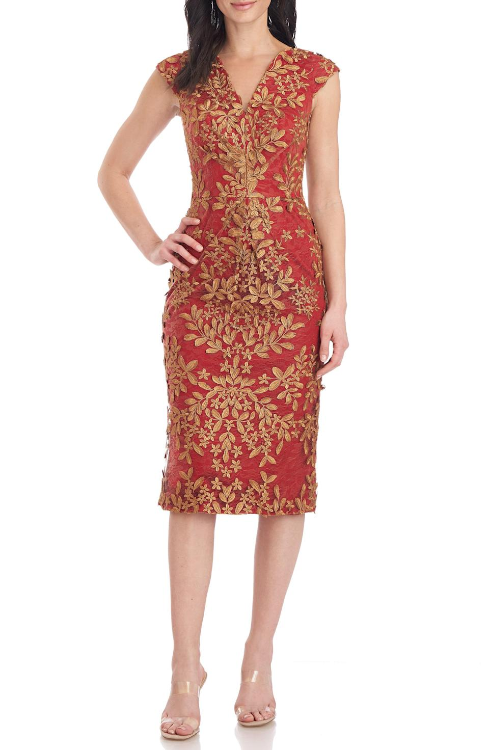 """<p><strong>JS Collections</strong></p><p>nordstrom.com</p><p><strong>$298.00</strong></p><p><a href=""""https://go.redirectingat.com?id=74968X1596630&url=https%3A%2F%2Fwww.nordstrom.com%2Fs%2Fjs-collections-wren-sheath-midi-dress%2F6467716&sref=https%3A%2F%2Fwww.townandcountrymag.com%2Fstyle%2Ffashion-trends%2Fg12096491%2Fbest-fall-wedding-guest-dresses%2F"""" rel=""""nofollow noopener"""" target=""""_blank"""" data-ylk=""""slk:Shop Now"""" class=""""link rapid-noclick-resp"""">Shop Now</a></p><p>Sophisticated embroidery makes this simple shape a knock-out.</p>"""