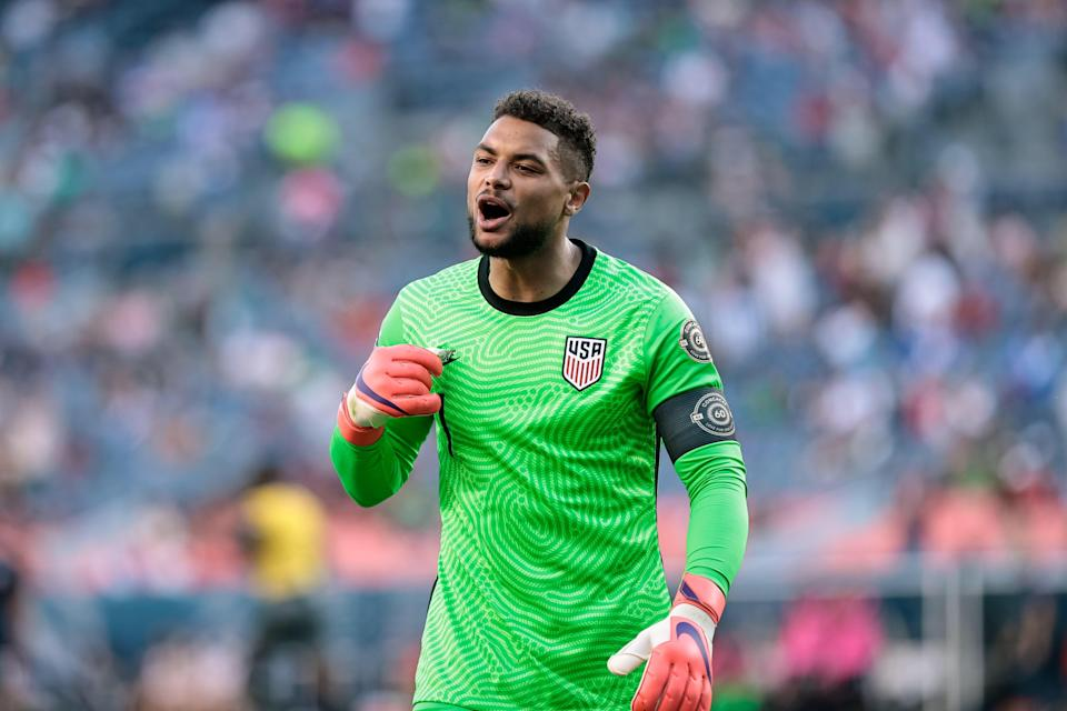 U.S. goalkeeper Zack Steffen reacts during the second half of a semifinal match against Honduras in the 2021 Concacaf Nations League soccer series on June 3 in Denver.