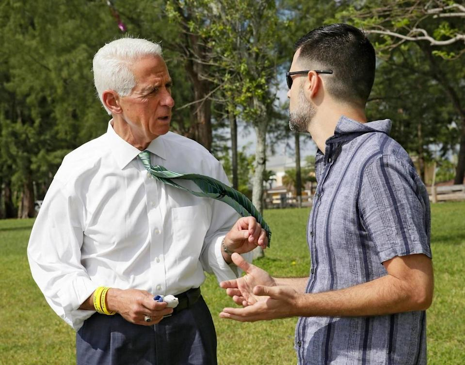 Democratic candidate for Florida governor Charlie Crist talks to Horacio Sierra, Cuban American Democratic Club President during his meeting with Miami-Dade Democratic Cuban Americans Saturday, May 8, 2021 at Tropical Park in Miami