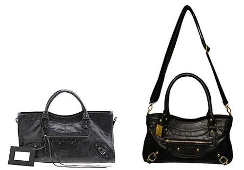 Balenciaga bag vs. Kardashian Kollection purse: knockoff or coincidence?  First up: a riff on Balenciaga. On the left we have their Arena Classic Part Time bag, $1,545. On the right, Kardashian Kollection Zip Feature Bag, $59.95. Kim Kardashian wears her Balenciaga bag everywhere so we feel there's no feigning ignorance about this blatant replica. Photo by: Balenciaga and bagsac.com.au