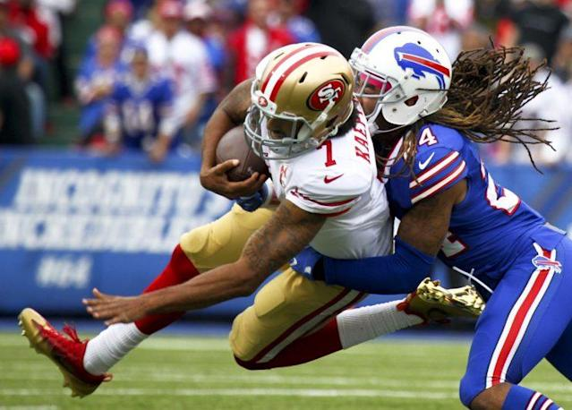 "<a class=""link rapid-noclick-resp"" href=""/nfl/players/24823/"" data-ylk=""slk:Colin Kaepernick"">Colin Kaepernick</a> got his first start of the season on Sunday, and he struggled (AP)"