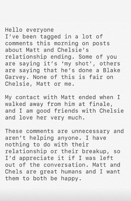 Abbie Chatfield statement about Matt Agnew and Chelsie Mcleod