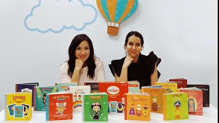 Lil' Libros founders Ariana Stein and Patty Rodriguez with some of their bilingual children's books