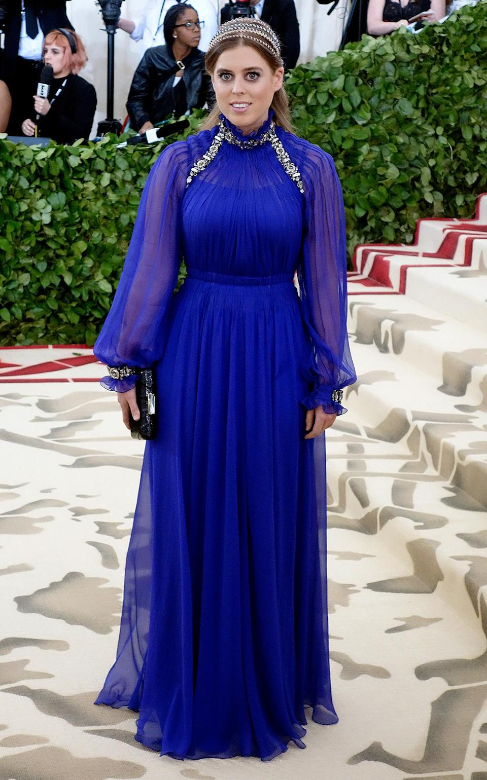 <p>In 2018, Princess Beatrice attended the Met Gala in a royal blue gown by Alberta Ferretti that was fit for the theme: Heavenly Bodies: Fashion & The Catholic Imagination.</p>