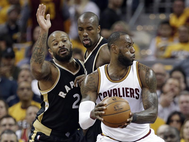 LeBron James had the Raptors defense guessing all night long in Game 2. (AP)