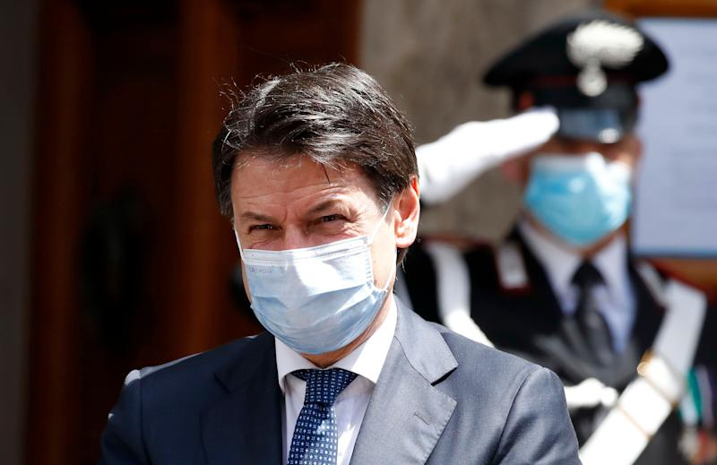The Italian Prime Minister Giuseppe Conte with mask to protect himself from the Coronavirus emergency (Covid-19) while leaving the Senate after the final discussion on the vote of individual distrust the Minister of Justice, Alfonso Bonafede. Rome (Italy), May 20th, 2020 (Photo by Massimo Di Vita/Archivio Massimo Di Vita/Mondadori Portfolio via Getty Images) (Photo: Mondadori Portfolio via Getty Images)