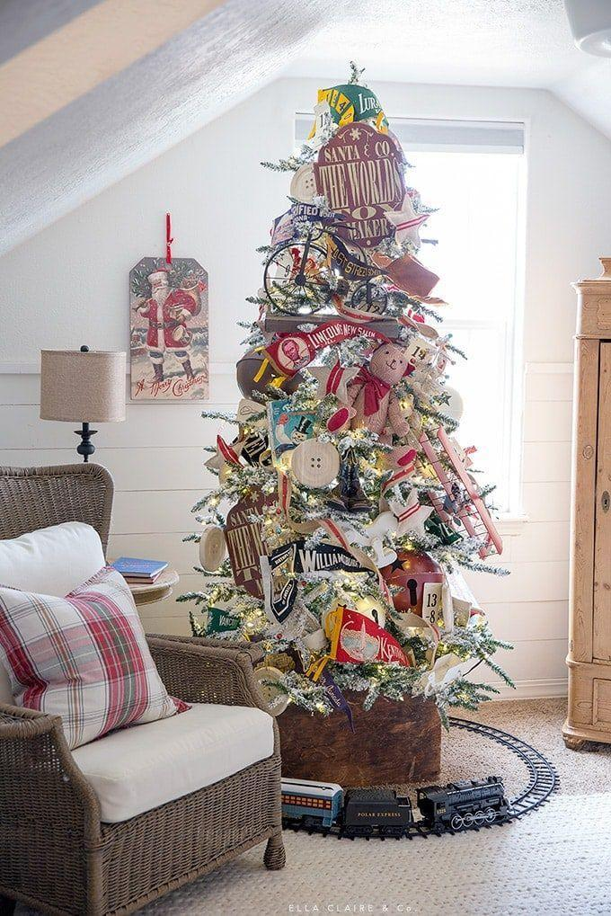 """<p>Take your family on a walk down memory lane with this retro toy Christmas tree. Regardless of their age, they'll appreciate all the old-school quirks the tree has. </p><p><strong><em>Get the tutorial at <a href=""""https://www.ellaclaireinspired.com/vintage-toy-christmas-family-room-playroom/"""" rel=""""nofollow noopener"""" target=""""_blank"""" data-ylk=""""slk:Ella Claire & Co"""" class=""""link rapid-noclick-resp"""">Ella Claire & Co</a>.</em></strong></p><p><a class=""""link rapid-noclick-resp"""" href=""""https://www.amazon.com/eZAKKA-Decorative-Christmas-Decoration-Color-Pack/dp/B01M7MNCUS/?tag=syn-yahoo-20&ascsubtag=%5Bartid%7C10070.g.2025%5Bsrc%7Cyahoo-us"""" rel=""""nofollow noopener"""" target=""""_blank"""" data-ylk=""""slk:BUY VINTAGE TOY ORNAMENTS"""">BUY VINTAGE TOY ORNAMENTS</a></p>"""