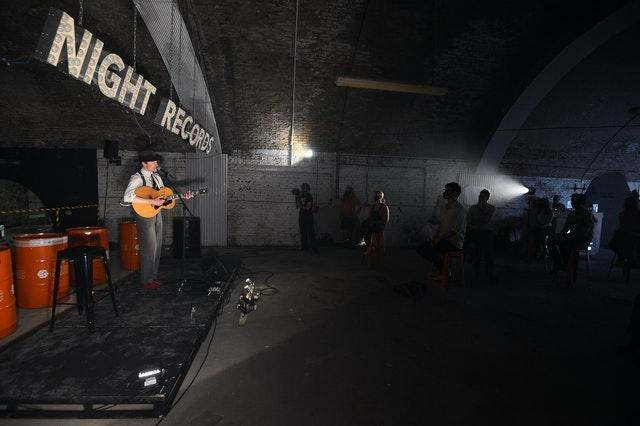A performance during the press preview of One Night Records, the UK's first socially-distanced immersive live music venue event at London Bridge, in London