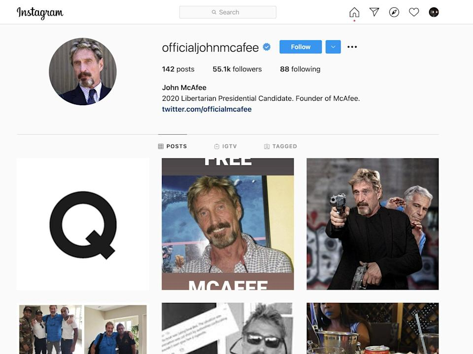 A picture of the letter Q –perhaps alluding to the QAnon conspiracy theory –appeared on John McAfee's Instagram shortly after his death was announced (officialjohnmcafee / Instagram)