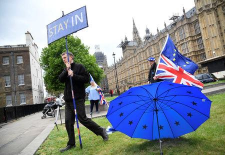 Anti-Brexit protesters are seen near the Houses of Parliament in London, Britain, May 3, 2019. REUTERS/Toby Melville