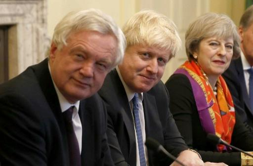 David Davis, left, quit as Brexit minister on Sunday, then Boris Johnson, centre, resigned on Monday. British PM Theresa May, right, quickly replaced them