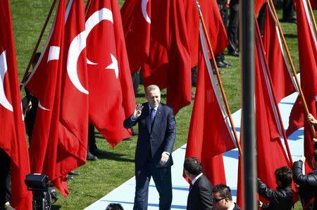 Turkish President Tayyip Erdogan attends a ceremony marking the 102nd anniversary of Battle of Canakkale, also known as the Gallipoli Campaign, in Canakkale, Turkey, March 18, 2017. REUTERS/Osman Orsal