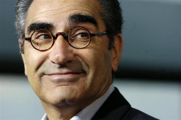 "Eugene Levy, one of the stars of the new comedy film ""The Man,"" looks back at the premiere of the film at the Arclight Theater in Los Angeles, September 6, 2005."