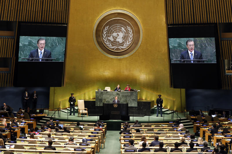 South Korea's President Moon Jae-in addresses the 74th session of the United Nations General Assembly, Tuesday, Sept. 24, 2019. (AP Photo/Richard Drew)